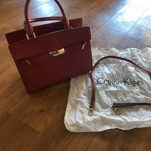 Red Leather Calvin Klein Bag